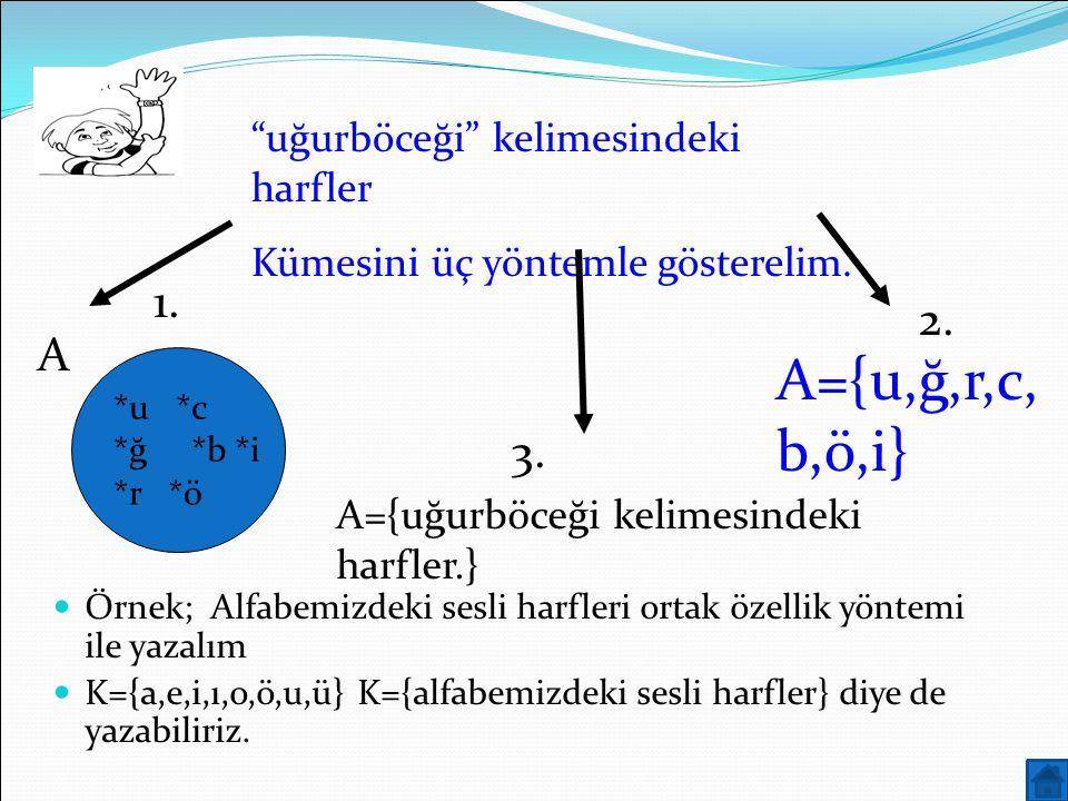 A={u,ğ,r,c,b,ö,i} 1. 2. A 3. uğurböceği kelimesindeki harfler