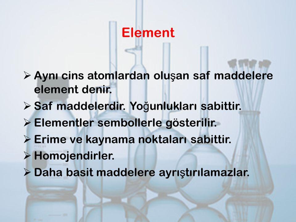 Element Aynı cins atomlardan oluşan saf maddelere element denir.