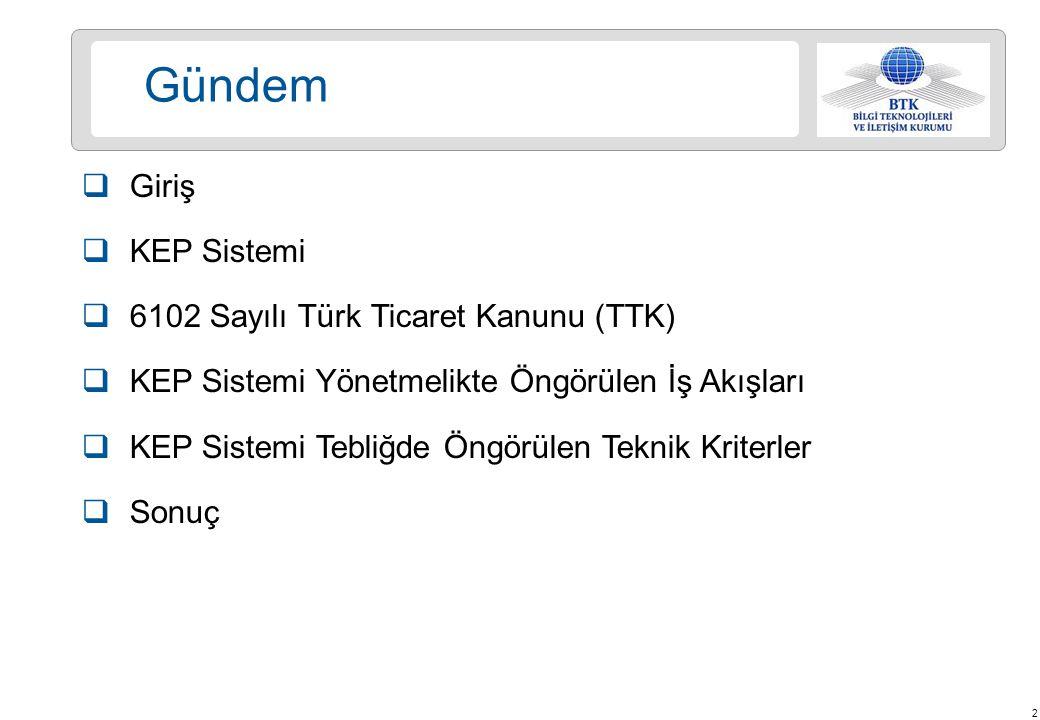 Gündem Giriş KEP Sistemi 6102 Sayılı Türk Ticaret Kanunu (TTK)