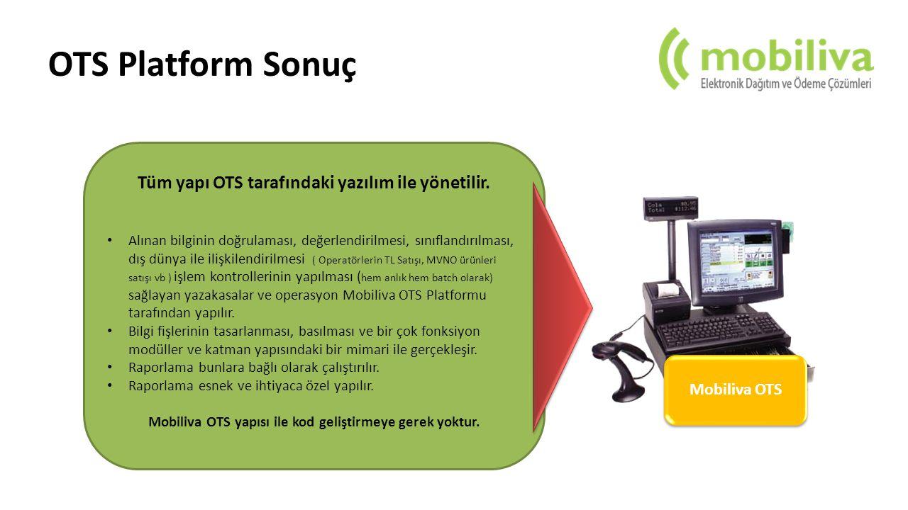 OTS Platform Sonuç Tüm yapı OTS tarafındaki yazılım ile yönetilir.