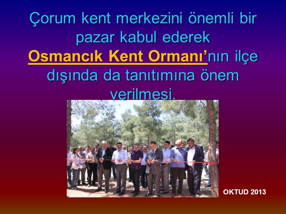 Çorum kent merkezini önemli bir pazar kabul ederek Osmancık Kent Ormanı'nın ilçe dışında da tanıtımına önem verilmesi.