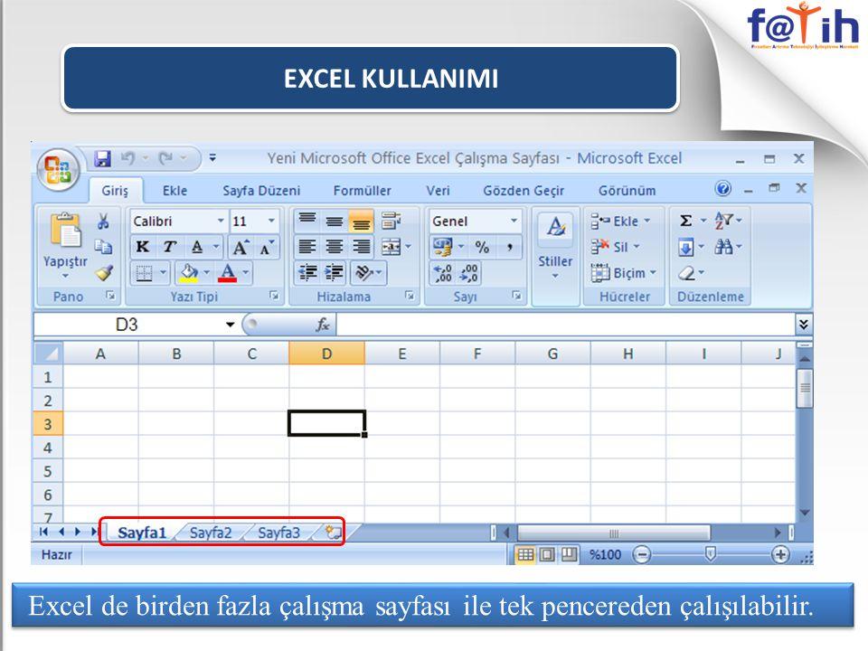 EXCEL KULLANIMI Excel de birden fazla çalışma sayfası ile tek pencereden çalışılabilir.