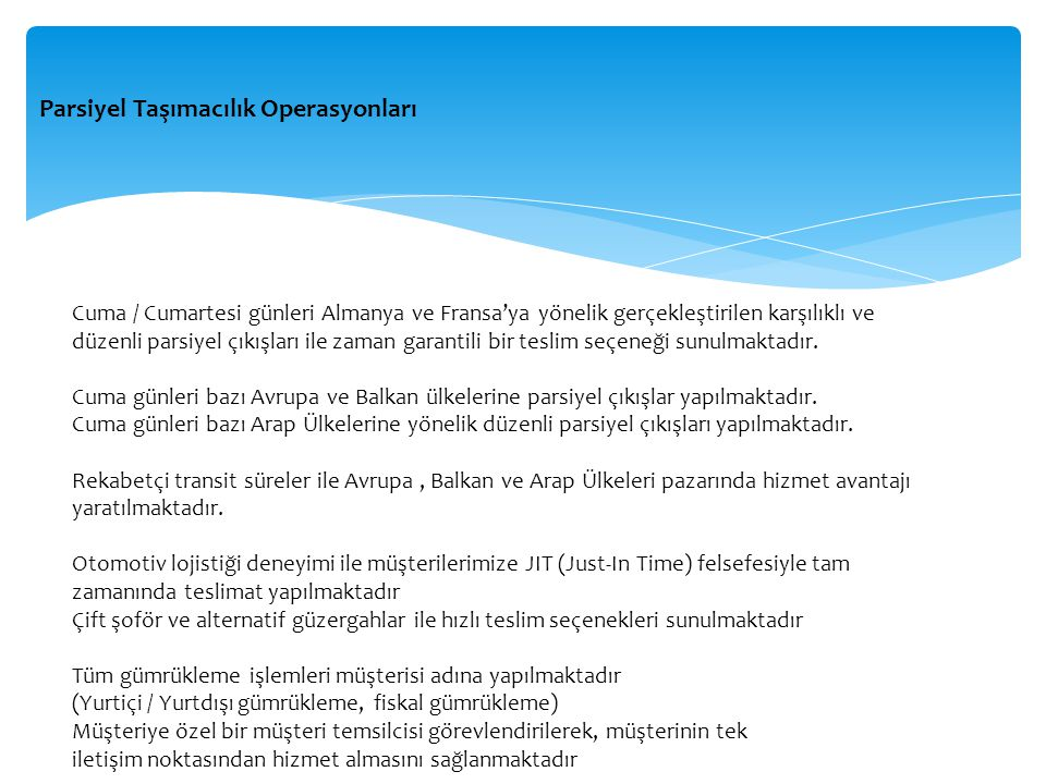 Parsiyel Taşımacılık Operasyonları