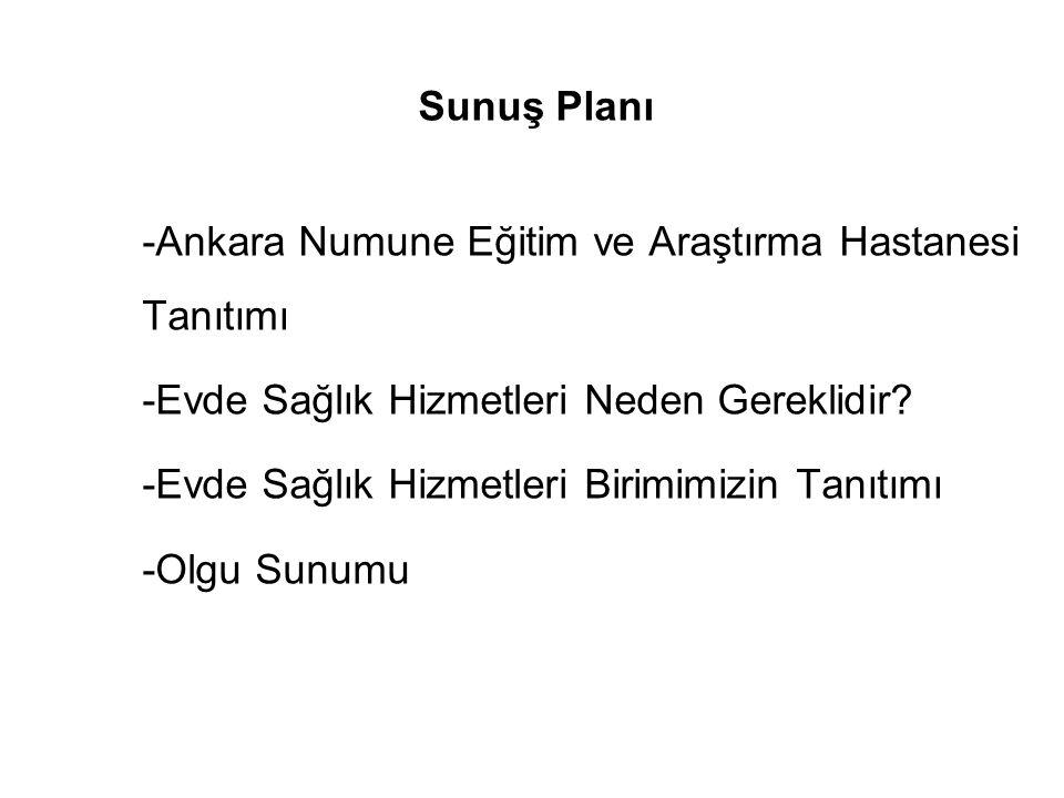 Sunuş Planı -Ankara Numune Eğitim ve Araştırma Hastanesi Tanıtımı. -Evde Sağlık Hizmetleri Neden Gereklidir
