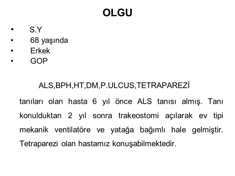 OLGU S.Y 68 yaşında Erkek GOP ALS,BPH,HT,DM,P.ULCUS,TETRAPAREZİ