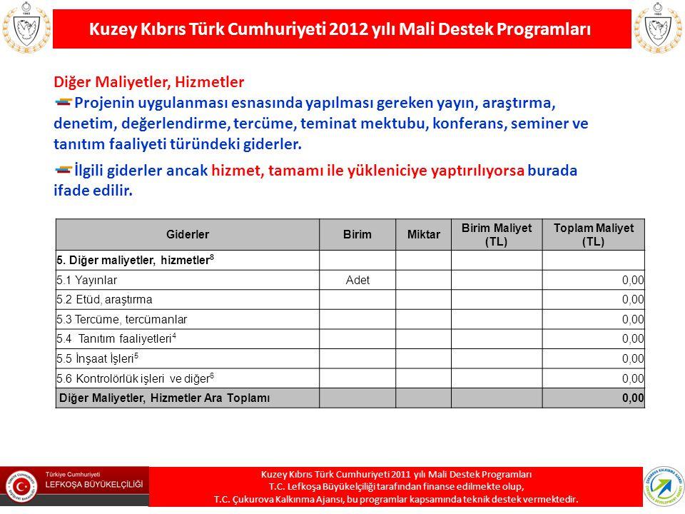 Kuzey Kıbrıs Türk Cumhuriyeti 2012 yılı Mali Destek Programları