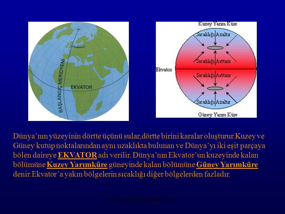 Dünya'nın yüzeyinin dörtte üçünü sular,dörtte birini karalar oluşturur