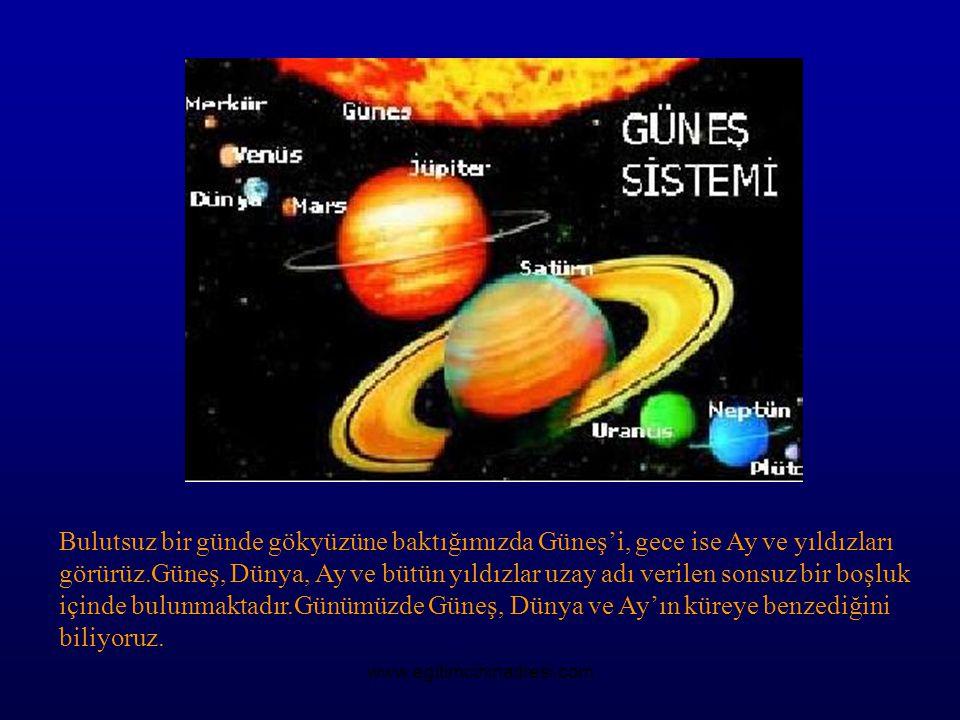 Bulutsuz bir günde gökyüzüne baktığımızda Güneş'i, gece ise Ay ve yıldızları görürüz.Güneş, Dünya, Ay ve bütün yıldızlar uzay adı verilen sonsuz bir boşluk içinde bulunmaktadır.Günümüzde Güneş, Dünya ve Ay'ın küreye benzediğini biliyoruz.
