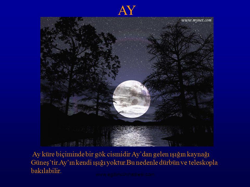 AY Ay küre biçiminde bir gök cismidir Ay'dan gelen ışığın kaynağı Güneş'tir.Ay'ın kendi ışığı yoktur.Bu nedenle dürbün ve teleskopla bakılabilir.