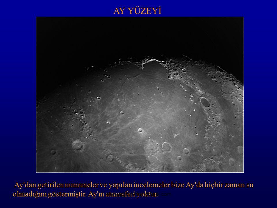 AY YÜZEYİ Ay dan getirilen numuneler ve yapılan incelemeler bize Ay da hiçbir zaman su olmadığını göstermiştir. Ay ın atmosferi yoktur.