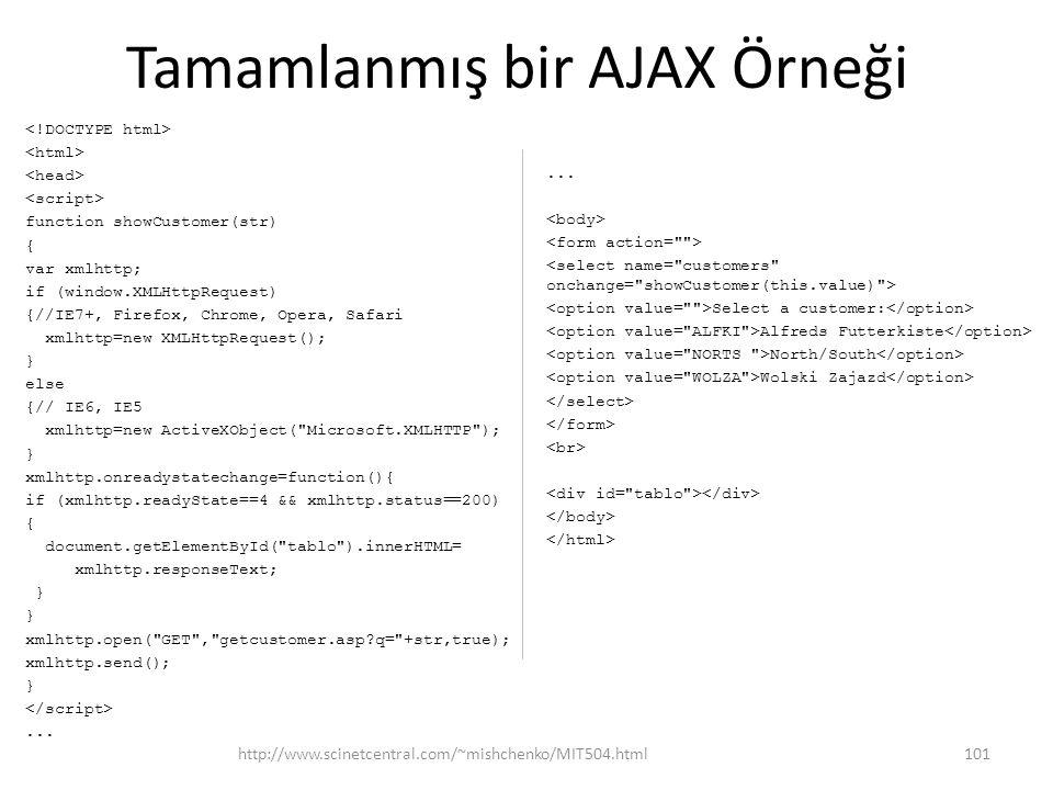 Tamamlanmış bir AJAX Örneği