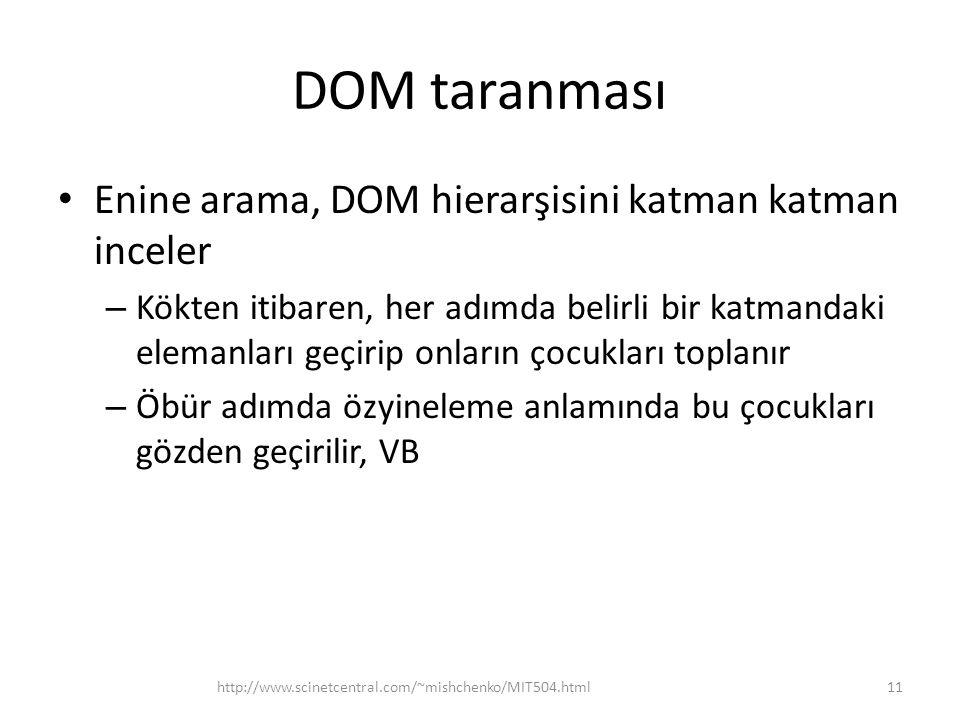 DOM taranması Enine arama, DOM hierarşisini katman katman inceler