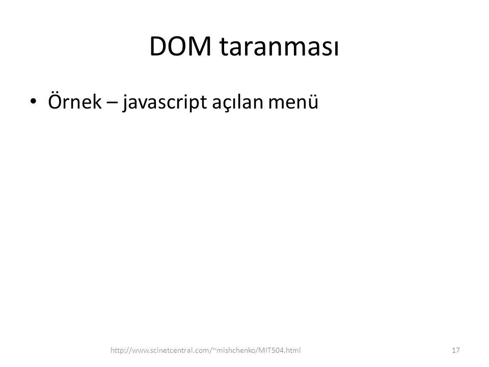 DOM taranması Örnek – javascript açılan menü