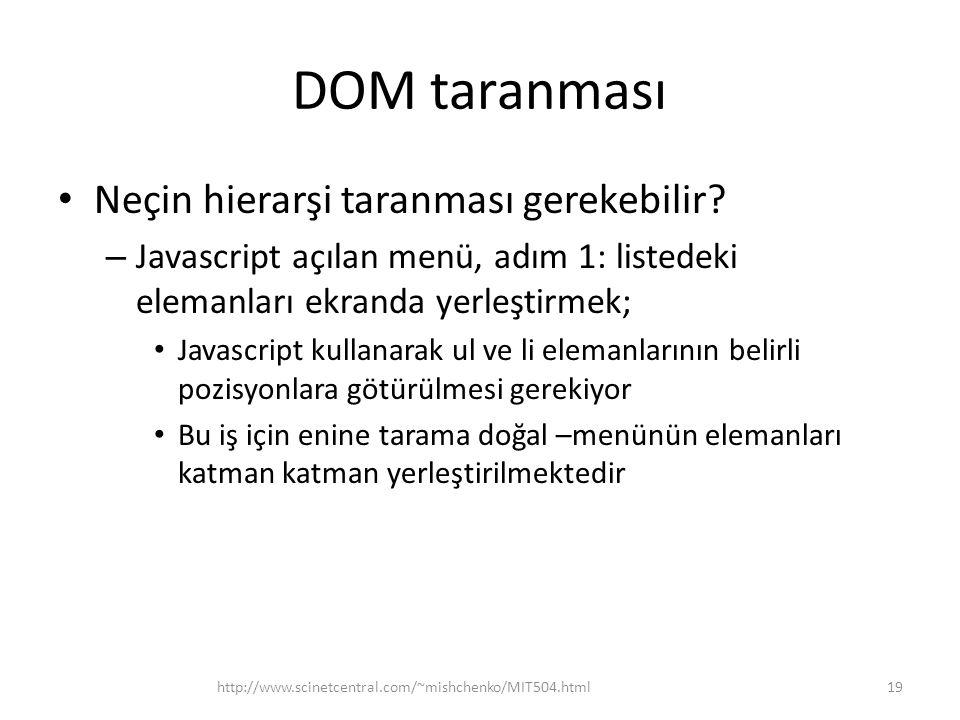 DOM taranması Neçin hierarşi taranması gerekebilir