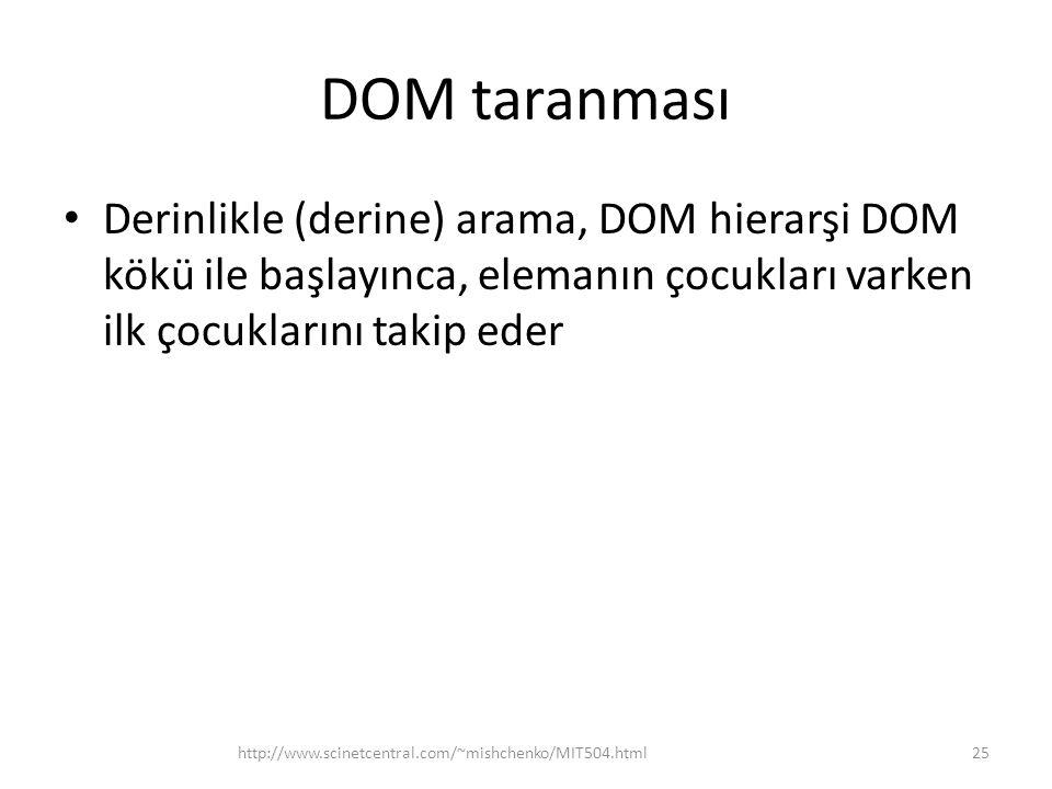 DOM taranması Derinlikle (derine) arama, DOM hierarşi DOM kökü ile başlayınca, elemanın çocukları varken ilk çocuklarını takip eder.