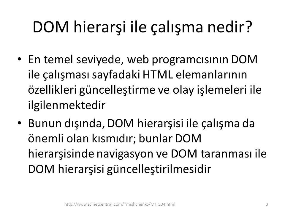 DOM hierarşi ile çalışma nedir