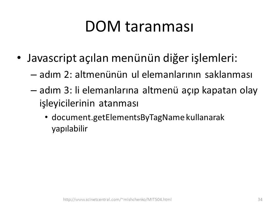 DOM taranması Javascript açılan menünün diğer işlemleri: