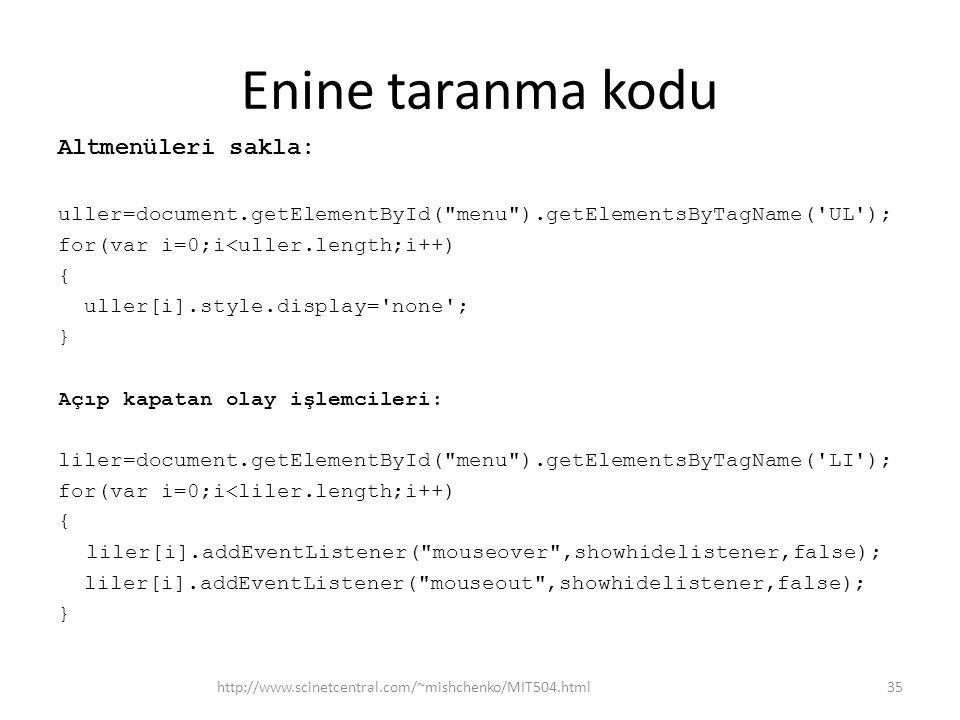 Enine taranma kodu Altmenüleri sakla: