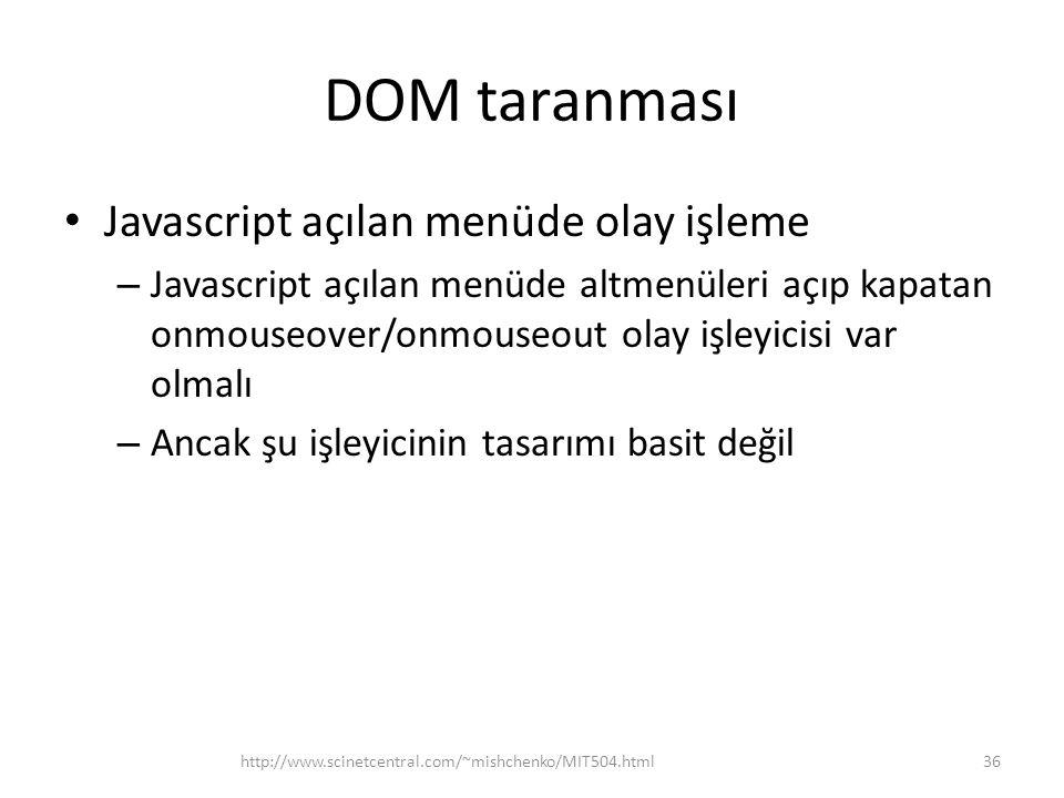 DOM taranması Javascript açılan menüde olay işleme