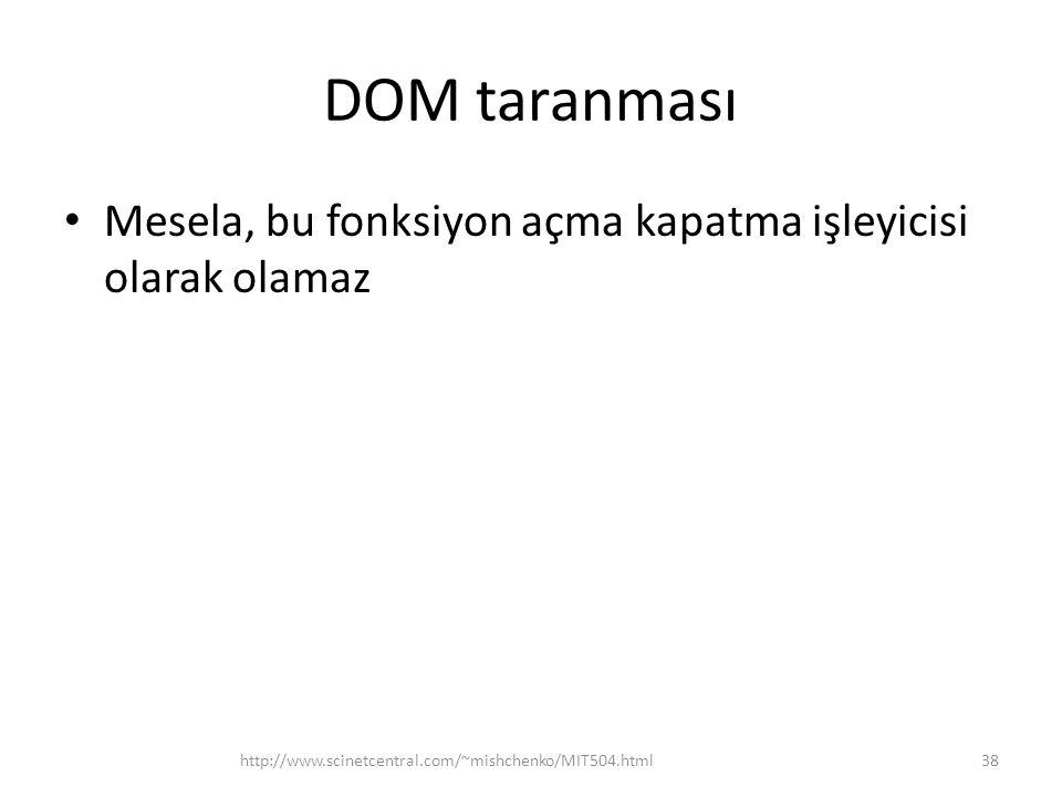 DOM taranması Mesela, bu fonksiyon açma kapatma işleyicisi olarak olamaz.