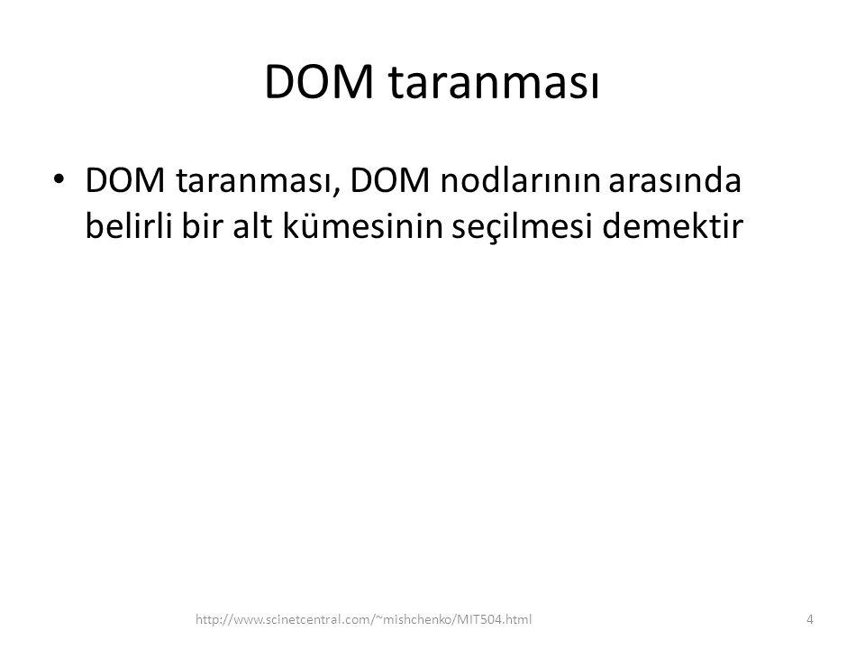 DOM taranması DOM taranması, DOM nodlarının arasında belirli bir alt kümesinin seçilmesi demektir.
