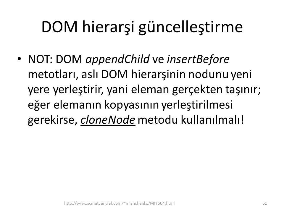 DOM hierarşi güncelleştirme