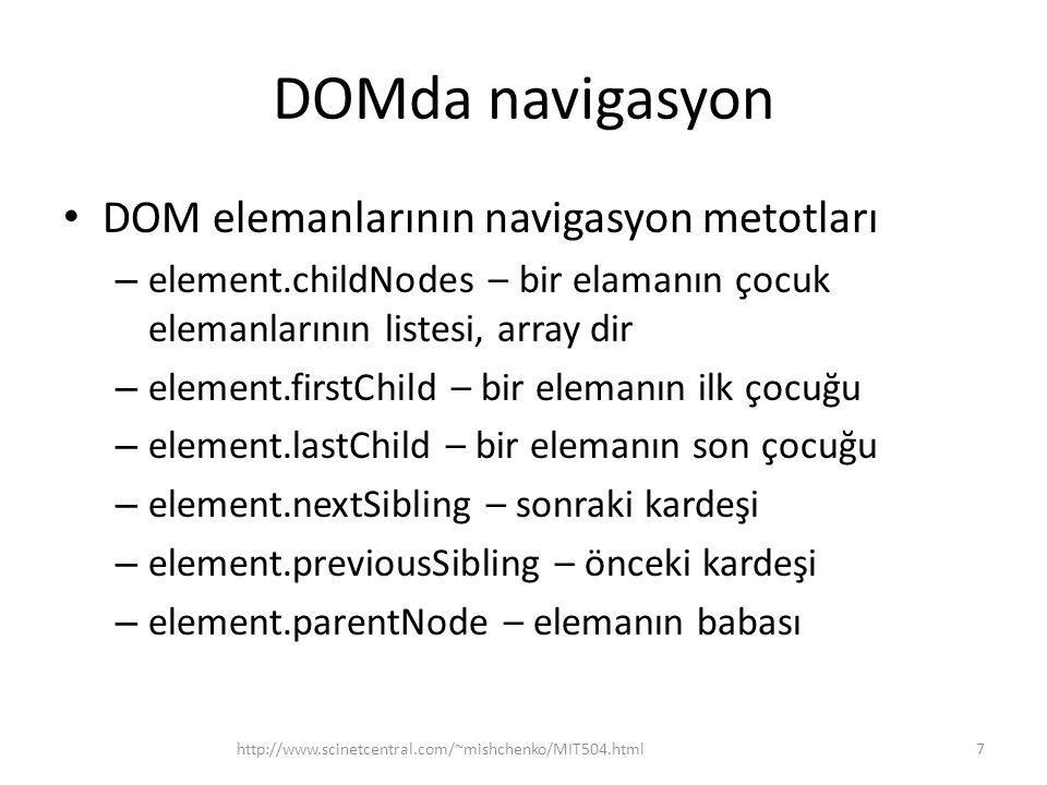 DOMda navigasyon DOM elemanlarının navigasyon metotları
