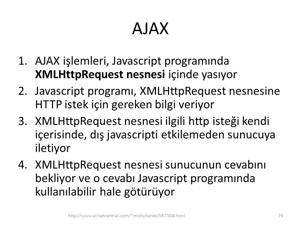 AJAX AJAX işlemleri, Javascript programında XMLHttpRequest nesnesi içinde yasıyor.