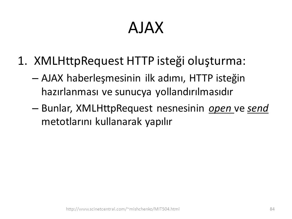 AJAX XMLHttpRequest HTTP isteği oluşturma: