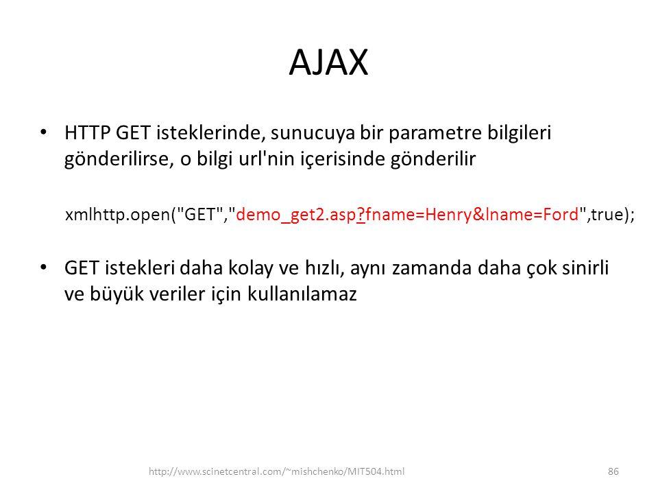 AJAX HTTP GET isteklerinde, sunucuya bir parametre bilgileri gönderilirse, o bilgi url nin içerisinde gönderilir.