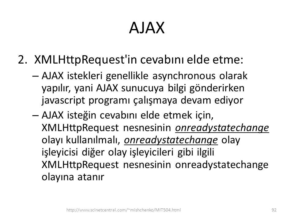AJAX XMLHttpRequest in cevabını elde etme: