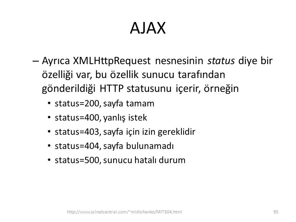 AJAX Ayrıca XMLHttpRequest nesnesinin status diye bir özelliği var, bu özellik sunucu tarafından gönderildiği HTTP statusunu içerir, örneğin.