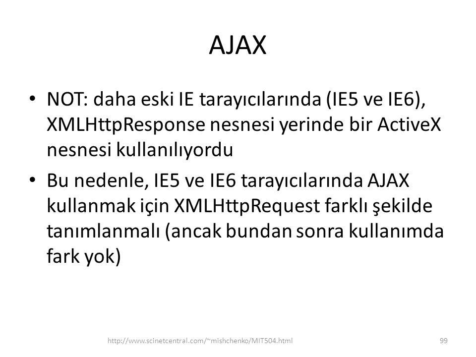 AJAX NOT: daha eski IE tarayıcılarında (IE5 ve IE6), XMLHttpResponse nesnesi yerinde bir ActiveX nesnesi kullanılıyordu.