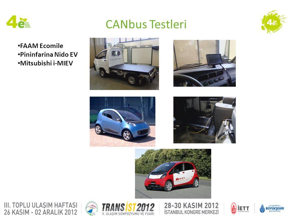 CANbus Testleri FAAM Ecomile Pininfarina Nido EV Mitsubishi i-MIEV