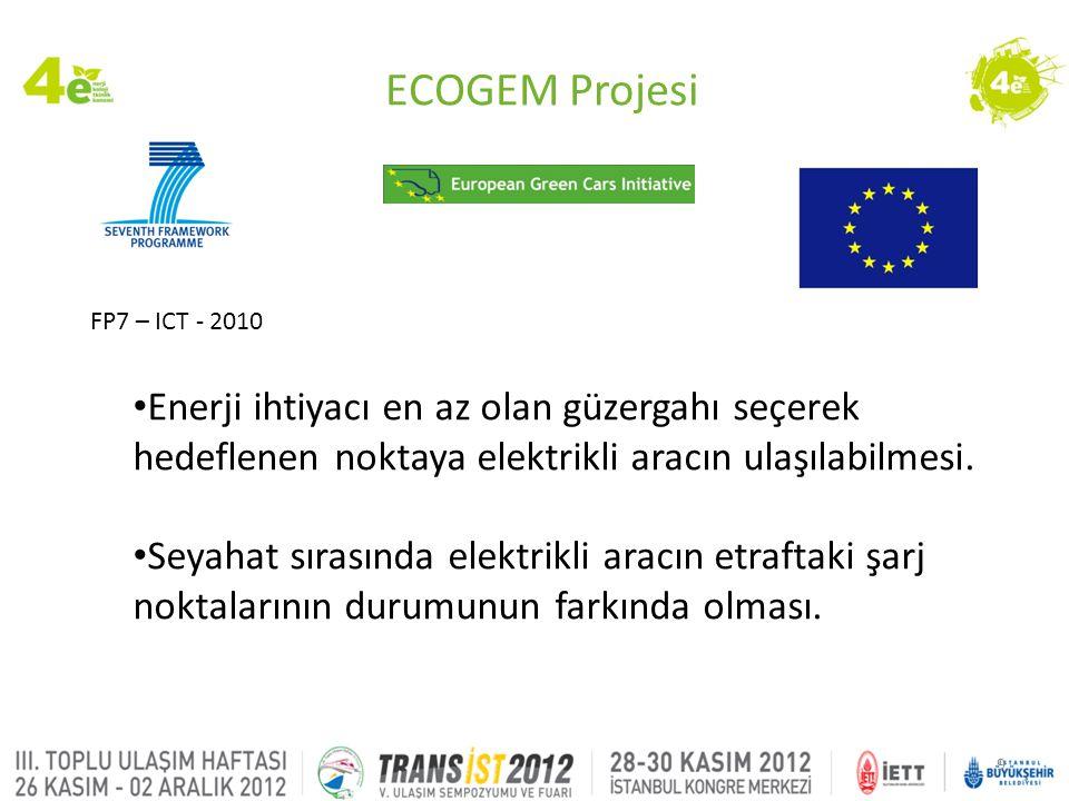 ECOGEM Projesi FP7 – ICT - 2010. Enerji ihtiyacı en az olan güzergahı seçerek hedeflenen noktaya elektrikli aracın ulaşılabilmesi.