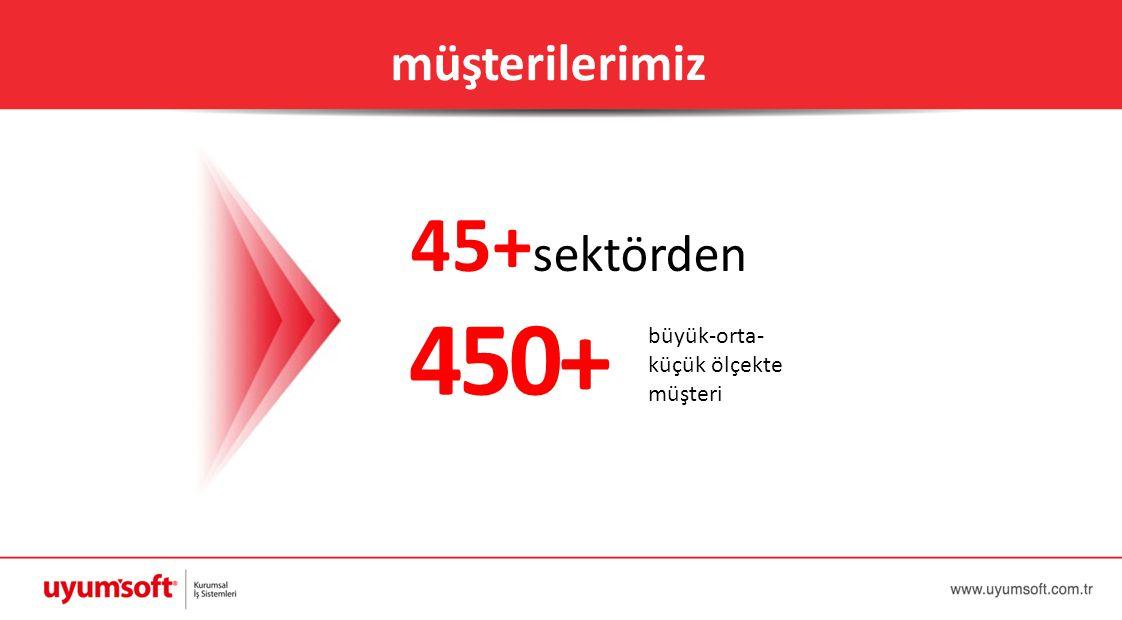müşterilerimiz 45+sektörden 450+ büyük-orta- küçük ölçekte müşteri