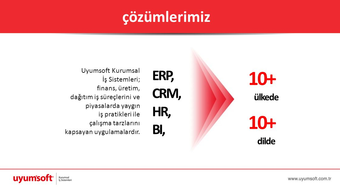 10+ 10+ çözümlerimiz ERP, CRM, HR, BI, ülkede dilde Uyumsoft Kurumsal