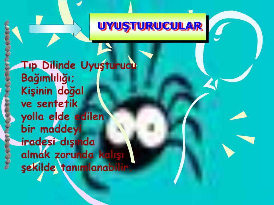 UYUŞTURUCULAR Tıp Dilinde Uyuşturucu. Bağımlılığı; Kişinin doğal. ve sentetik. yolla elde edilen.