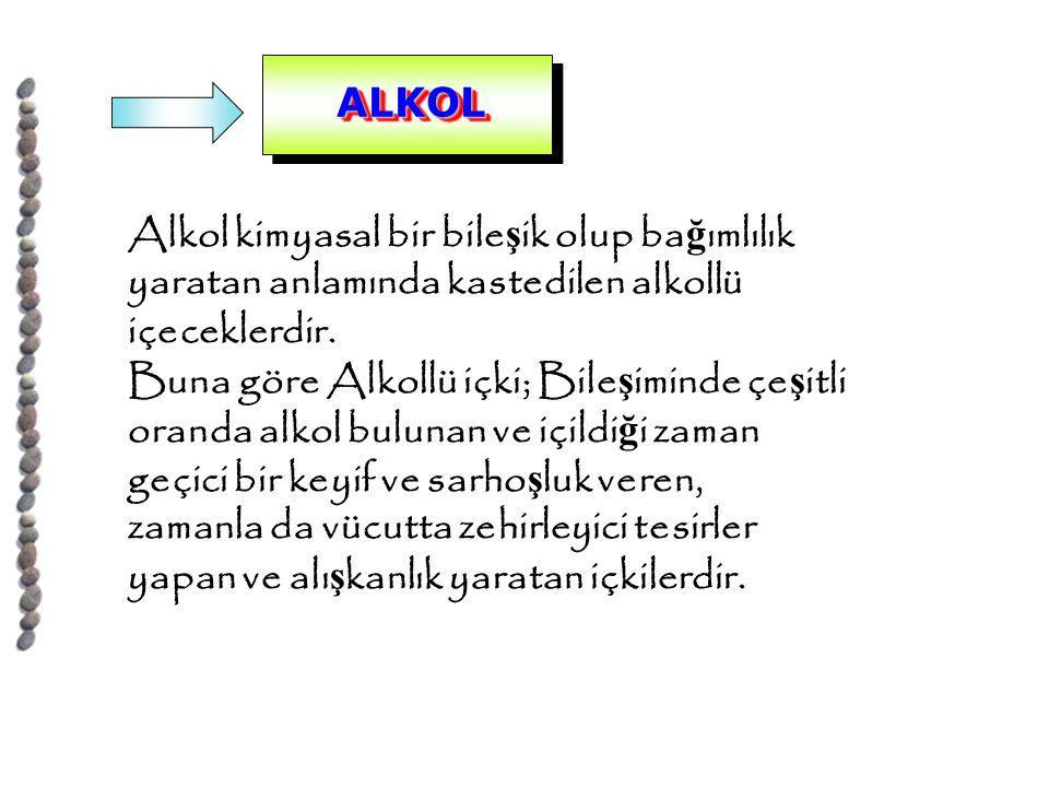ALKOL Alkol kimyasal bir bileşik olup bağımlılık. yaratan anlamında kastedilen alkollü. içeceklerdir.