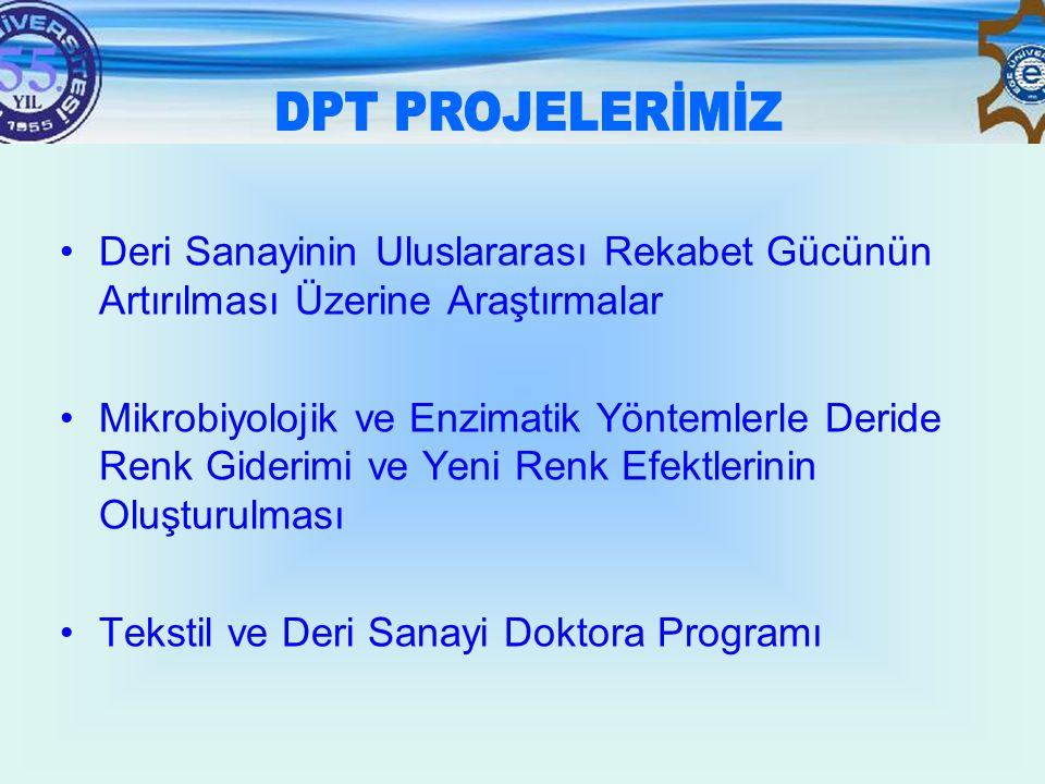 DPT PROJELERİMİZ Deri Sanayinin Uluslararası Rekabet Gücünün Artırılması Üzerine Araştırmalar.