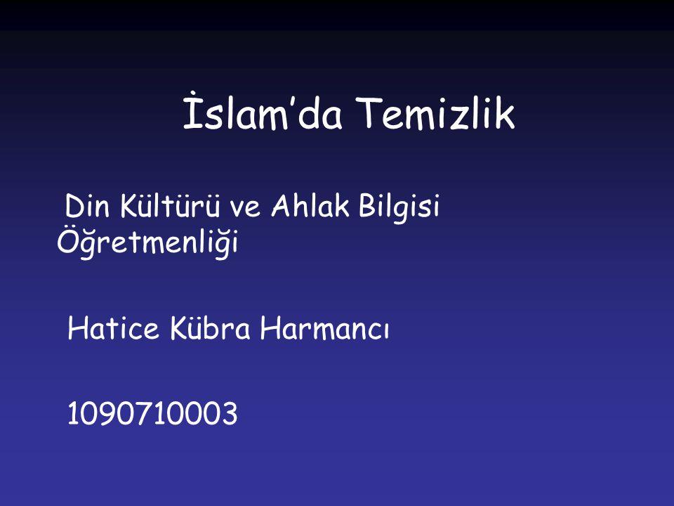 İslam'da Temizlik Din Kültürü ve Ahlak Bilgisi Öğretmenliği