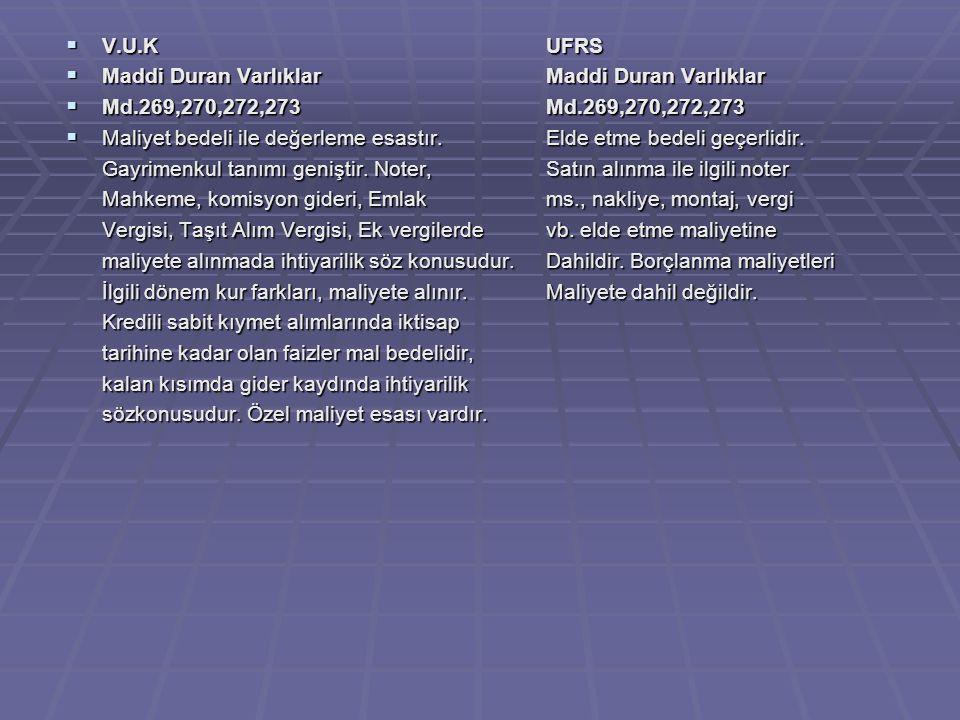 V.U.K UFRS Maddi Duran Varlıklar Maddi Duran Varlıklar. Md.269,270,272,273 Md.269,270,272,273.
