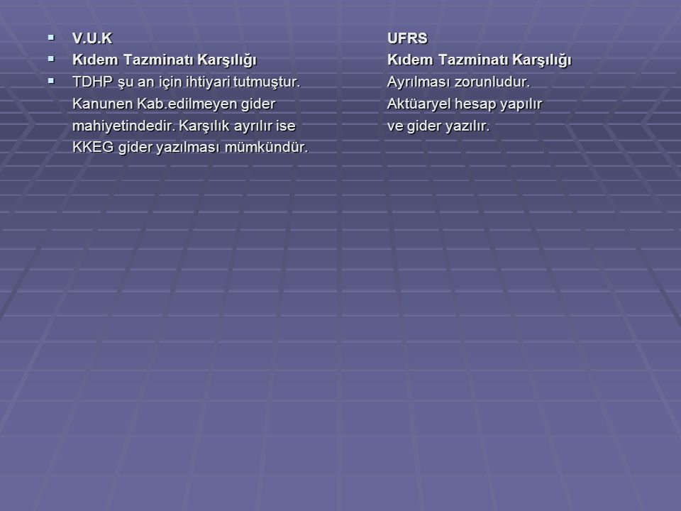 V.U.K UFRS Kıdem Tazminatı Karşılığı Kıdem Tazminatı Karşılığı. TDHP şu an için ihtiyari tutmuştur. Ayrılması zorunludur.