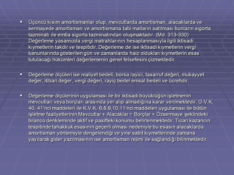 Üçüncü kısım amortismanlar olup, mevcutlarda amortisman, alacaklarda ve sermayede amortisman ve amortismana tabi malların satılması bunların sigorta tazminatı ile emtia sigorta tazminatından oluşmaktadır. (Md. 313-330) Değerleme yasamızda vergi matrahlarının hesaplanmasıyla ilgili iktisadi kıymetlerin takdir ve tespitidir. Değerleme de ise iktisadi kıymetlerin vergi kanunlarında gösterilen gün ve zamanlarda haiz oldukları kıymetlerin esas tutulacağı hükümleri değerlemenin genel felsefesini çizmektedir.