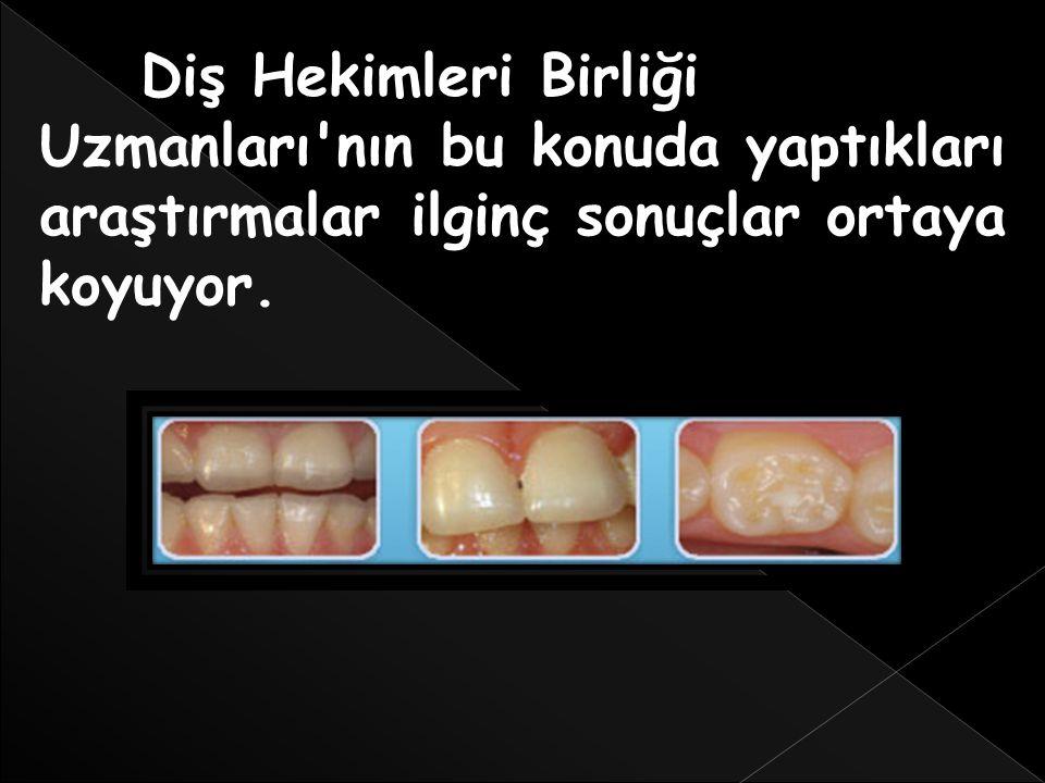 Diş Hekimleri Birliği Uzmanları nın bu konuda yaptıkları araştırmalar ilginç sonuçlar ortaya koyuyor.