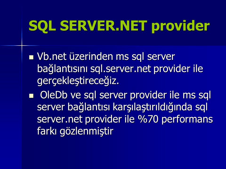 SQL SERVER.NET provider