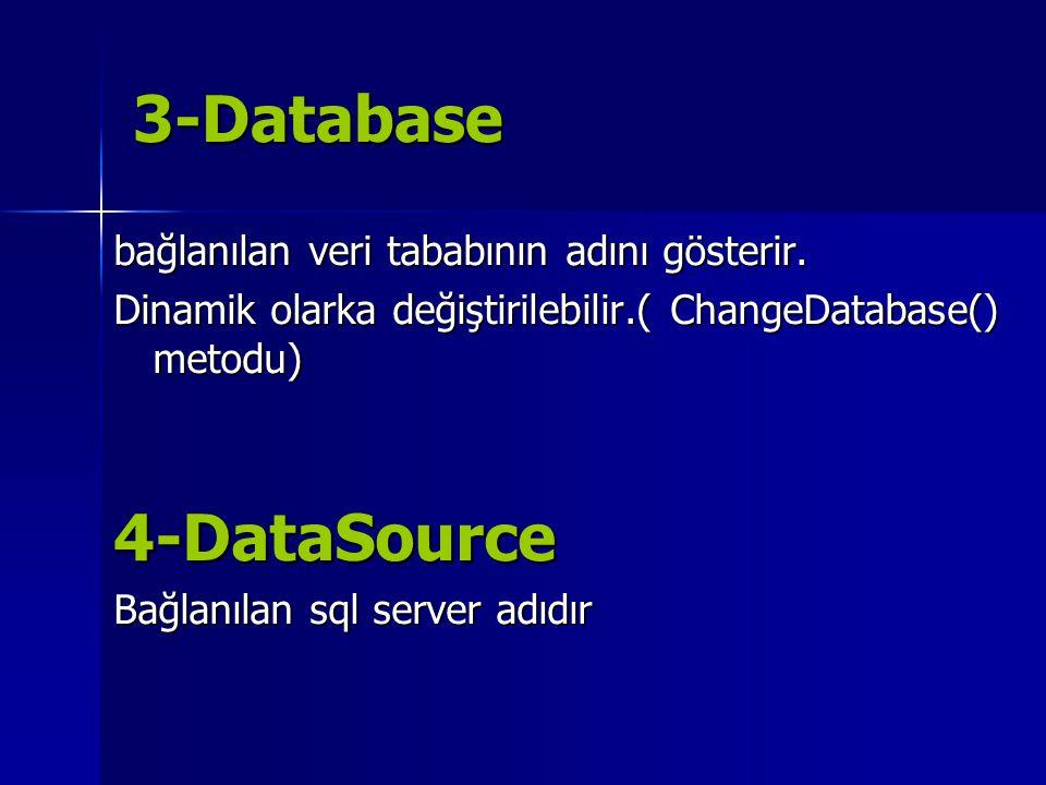 3-Database 4-DataSource bağlanılan veri tababının adını gösterir.