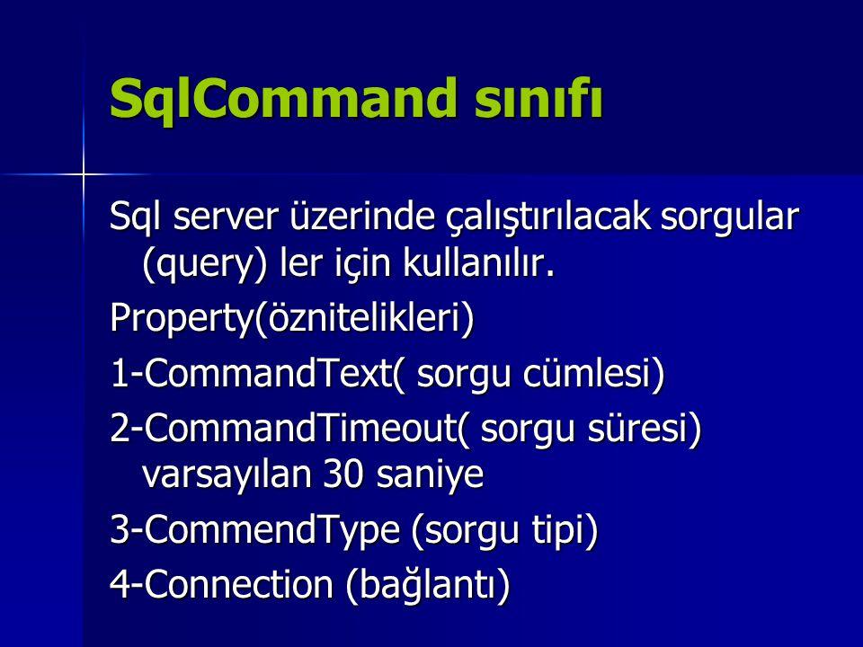 SqlCommand sınıfı Sql server üzerinde çalıştırılacak sorgular (query) ler için kullanılır. Property(öznitelikleri)