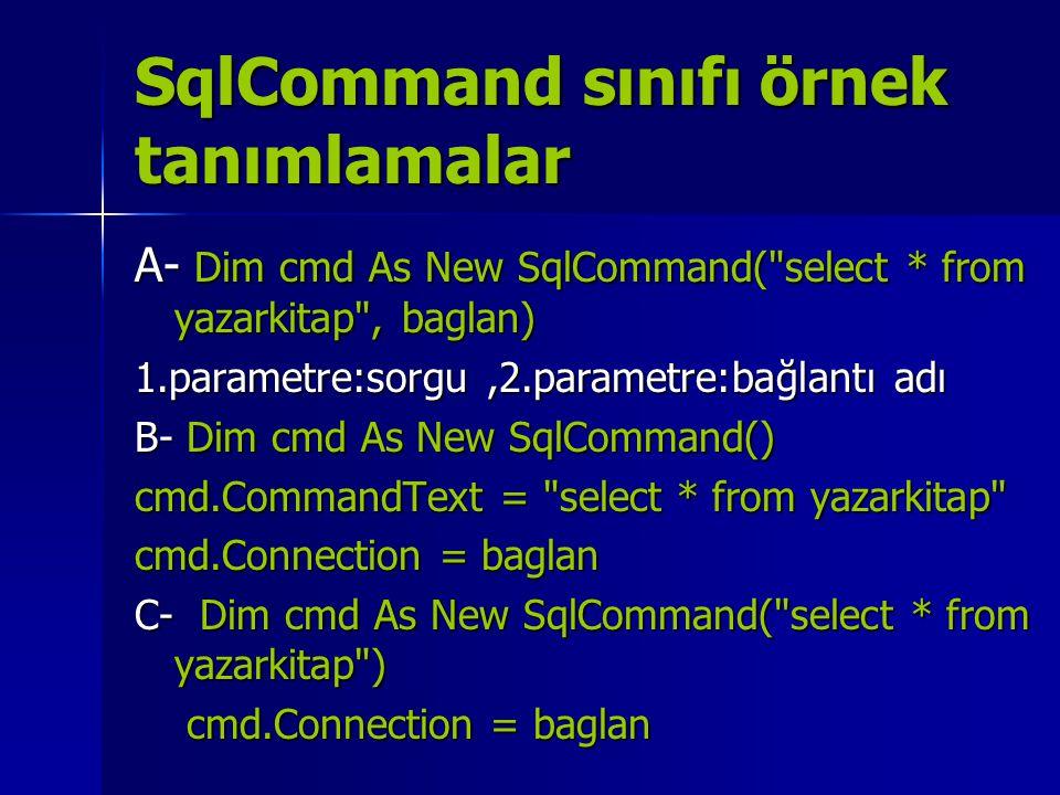 SqlCommand sınıfı örnek tanımlamalar