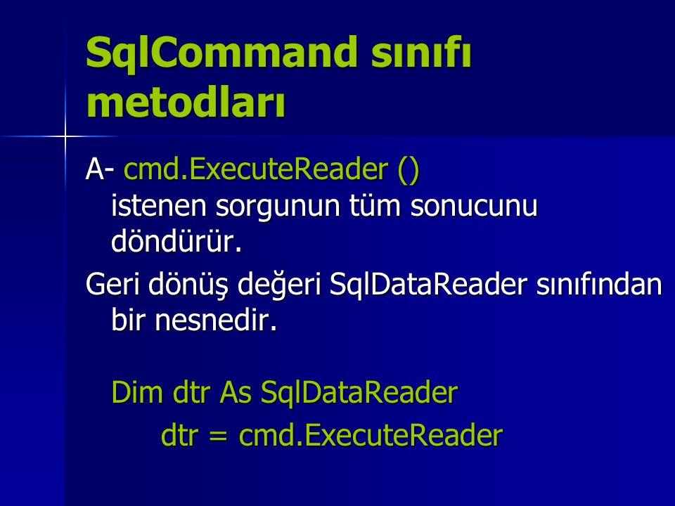 SqlCommand sınıfı metodları